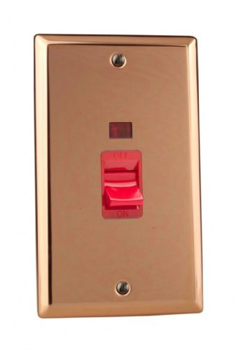 Varilight XY45N.CU Urban Polished Copper 45A DP Cooker Switch Vertical Twin Plate + Neon